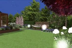 Projekt ogrodu z zadaszeniem tarasu w Zielonkach
