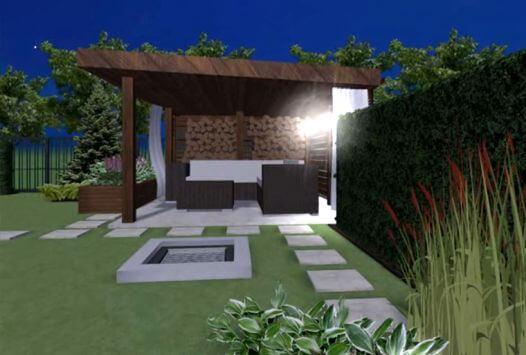 Projekt ogrodu z nowoczesną altaną w Bibicach