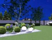 Ogród nowoczesny z kulami w Katowicach