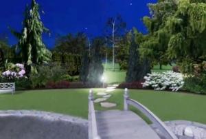Projekt ogrodu w stylu swobodnym z altaną przy hotelu